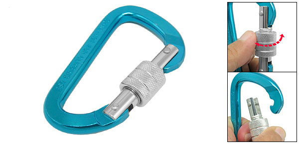 Large Blue D-Shaped Aluminum Carabiner Clip
