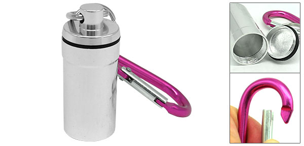 Hot Pink Aluminium Carabiner with Silver Bottle Flask Keychain