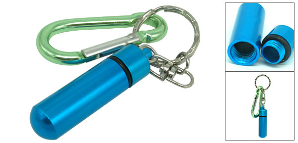 Green Aluminium Carabiner with Small Blue Bottle Flask Keychain