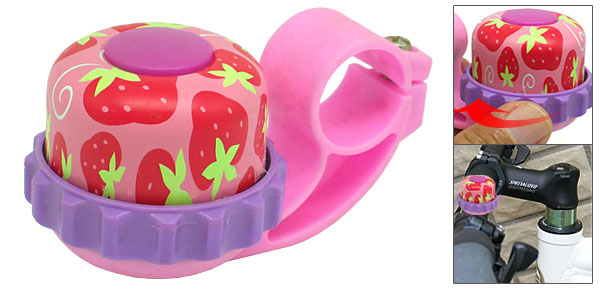 Fashion Pink Purple Bike Bicycle Bell With Strawberry Picture Design