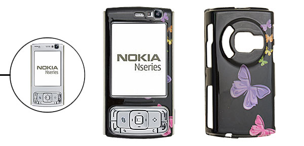 Butterfly  Black Plastic Case for Nokia N95