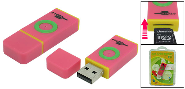 Portable Small Pink USB 2.0 T-Flash Micro SD Card Reader