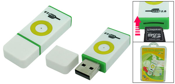 Plug and Play White USB 2.0 T-Flash Micro SD Card Reader