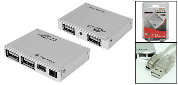 Rectangle Silvery Computer PC USB 2.0 Hi-Speed 4 Port Hub