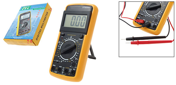 Digital LCD Multimeter Voltmeter Ammeter Ohmmeter Yellow and Black