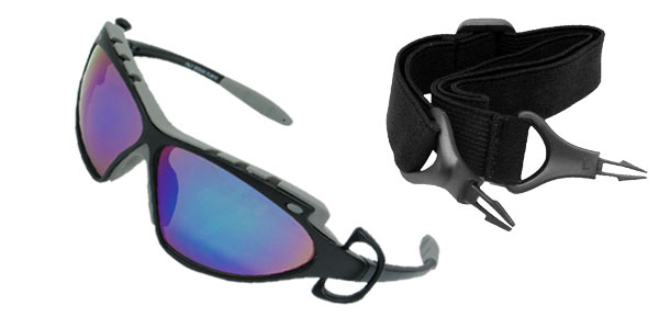 Sporty Sunglasses with Colorful Lens and Black Gray Frame