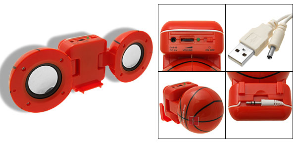 Portable Basketball Style Speaker for Computer iPod MP3 MP4
