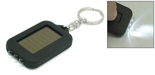 Black Mini Pocket 3 White LED Solar Powered Flashlight Keychain Design