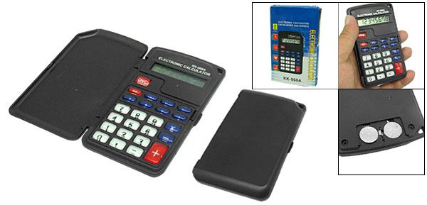 Super Slim Pocket Size Black Box Set 8 Digits Electronic Calculator