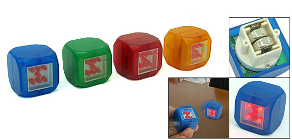 Fashion 7 Red LEDs Battery Powered Electronic Cubic Dice Sets