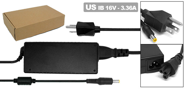 16V 3.36A AC Adapter with US Power Cord for IBM ThinkPad 380 600 ( 02K6496 )