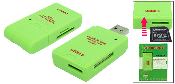 Smart Mini USB 2.0 Multi In One Memory Card Reader Green