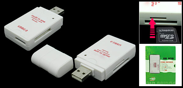Mini Portable White USB 2.0 Multi In One Card Reader
