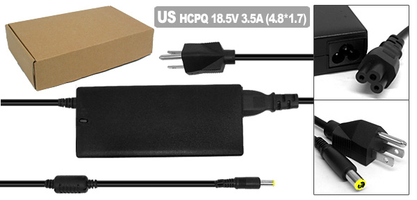 18.5V 3.5A AC Adapter with US Power Cord for HP Pavilion ZE2000 DV4000 ( 239427-001 )