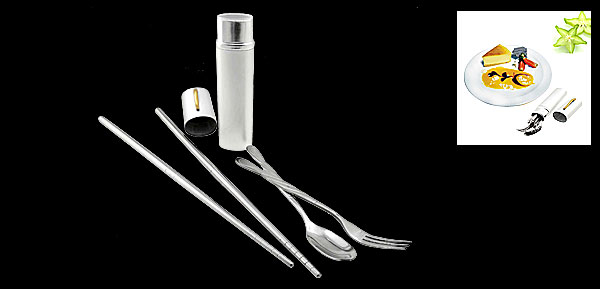 Portable Silvery Pen Shaped Holder Stainless Steel Chopsticks Spoon Fork Set