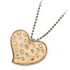 Fashion Jewelry Beige Crystal Heart Rhinestone Pendant Sweater Ch...