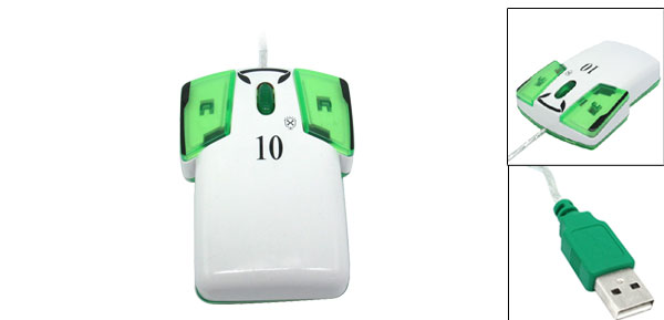 White and Green T-Shirt USB 3D Optical Scroll Wheel Computer Mouse