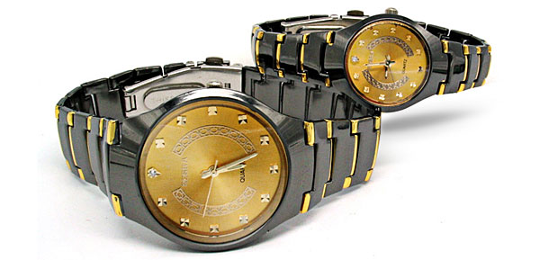 Fashion Metal Band Golden Dial His and Her Couple Watches