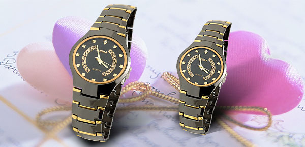 Fashion Round Metal Band Wrist Quartz Couple His Her Watches
