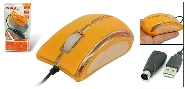 Laptop PC Super Mini Scroll Wheel USB PS/2 Optical Mouse Yellow