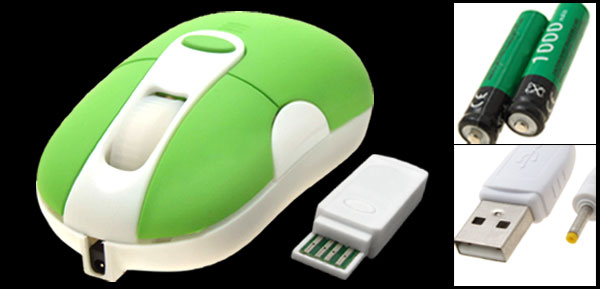USB Rechargeable Mini Wireless Optical Mouse Green for Laptop PC