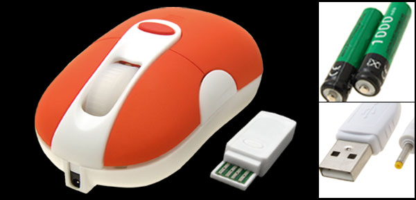 Orange Mini USB Rechargeable Optical Wireless Mouse for Laptop PC