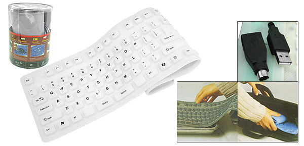 Flexible Roll Up PS/2 USB Waterproof Silicone Keyboard 108 Keys