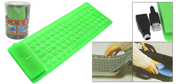 USB PS/2 Portable Mini Flexible Silicone Computer Keyboard Green