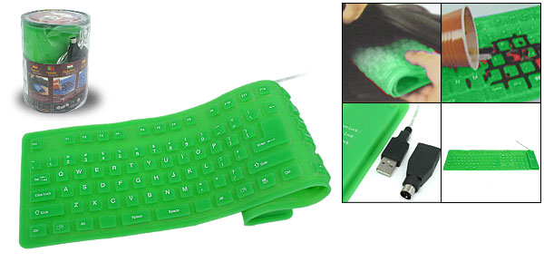 108 Keys Flexible Silicone USB PS/2 Computer Keyboard Tender Green