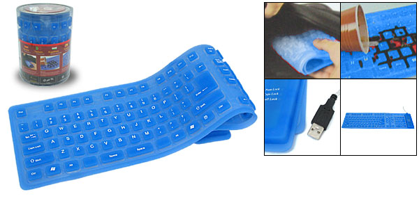 Portable Mini Flexible Silicone USB Computer Keyboard Blue 108 Keys