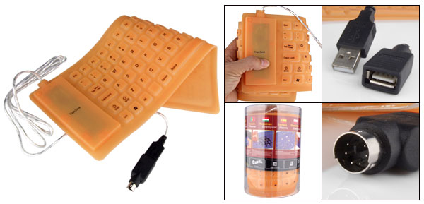 Portable Mini Flexible Silicone Computer USB PS/2 Keyboard Orange
