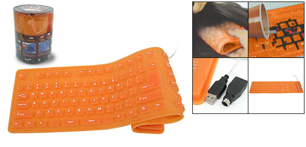 108 Keys Portable Flexible Silicone Computer USB PS/2 Keyboard Orange