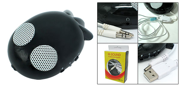 Mini Audio Fish USB Electricize Li-ion Speaker for PC Mp3 CD Black