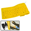 108 Keys Flexible Silicone Computer PS/2 USB Keyboard Yellow