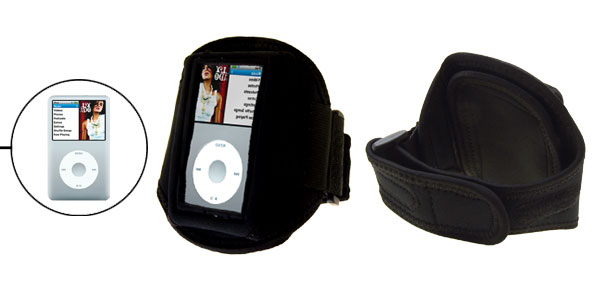 Black Washable Belt Open View Sports Armband Case for iPod Classic