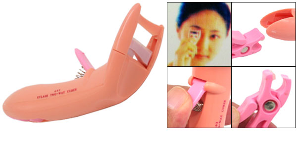 Beauty Make Up Orange Pink Plastic 2 in 1 Eyelash Curler