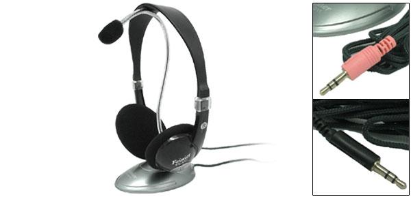 Fashion Black Headphone Desktop Microphone Two Unite as One FE - 011