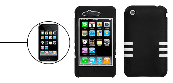 Dual Layer Silicone Skin Case for iPhone 3G Black and White