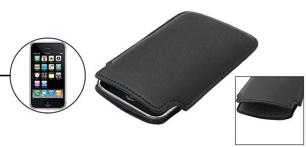 Elegant Leather Black Sleeve Case Pouch for Apple iPhone 3G
