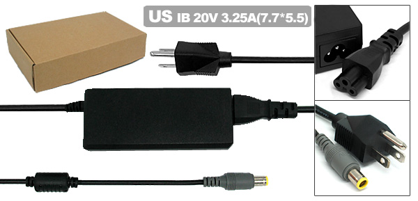 Laptop 20V 3.25A AC Adapter with US Power Cord for IBM ThinkPad T60 X60 ( 92P1158 )