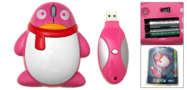 Penguin USB Scroll Wheel RF Wireless Optical Mouse for PC Laptop