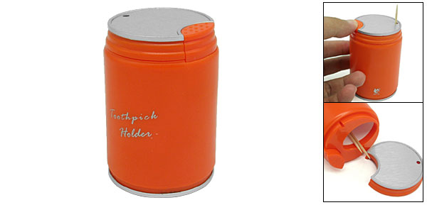 Orange Can Shaped Automatic Toothpick Holder