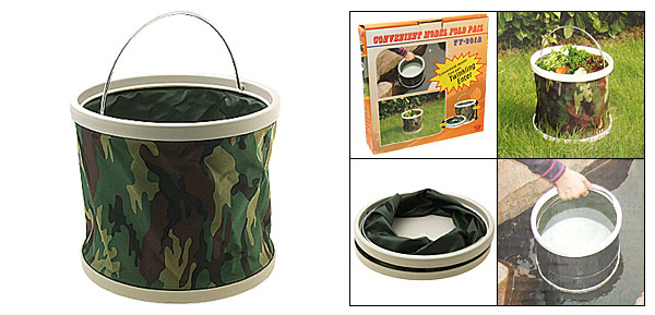 Army Camouflage Camping Portable Folding Water Bucket Pail