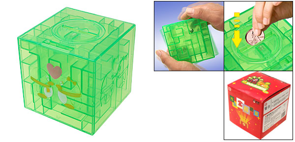 Green Transparent 3D Labyrinth Money Coin Saving Piggy Bank Box