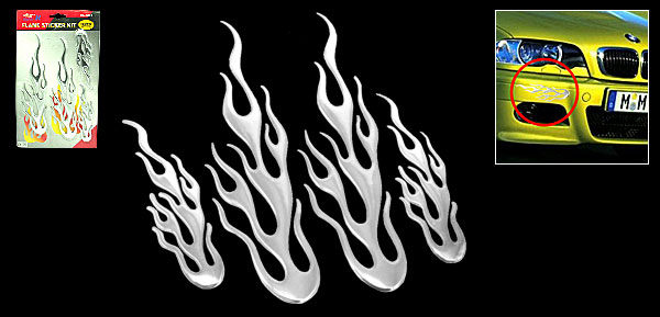 Silvery Flame Design Car Decoration Logo Badge Sticker (HL-8012)