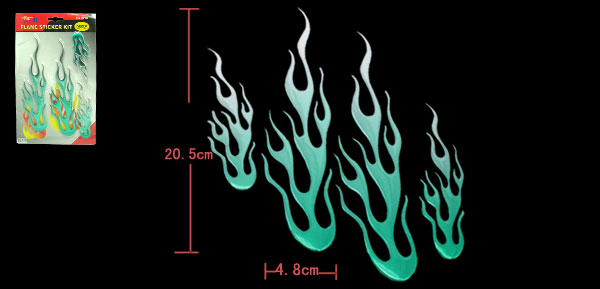 Green Color Flame Car Decoration Logo Badge Sticker (HL-8012)