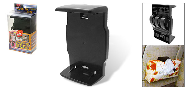 Black Plastic Room Car Tissue Box Cover Case Holder