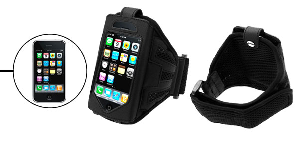 Black Sport Armband Case Holder with Flap for Apple iPhone 3G