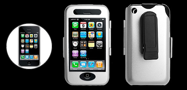 Silvery Hard Aluminum Case Cover with Clip for Apple iPhone 3G 2nd Generation