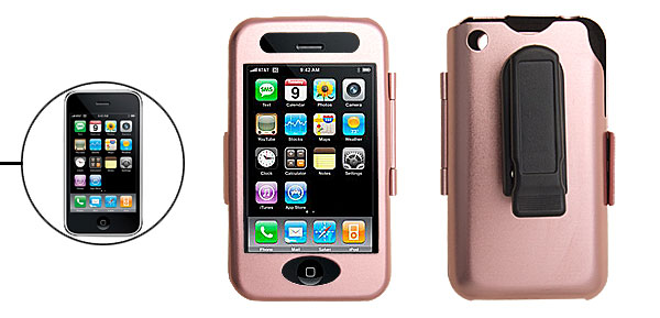 Hard Aluminum Case Cover Pink with Clip for Apple iPhone 3G 2nd Generation